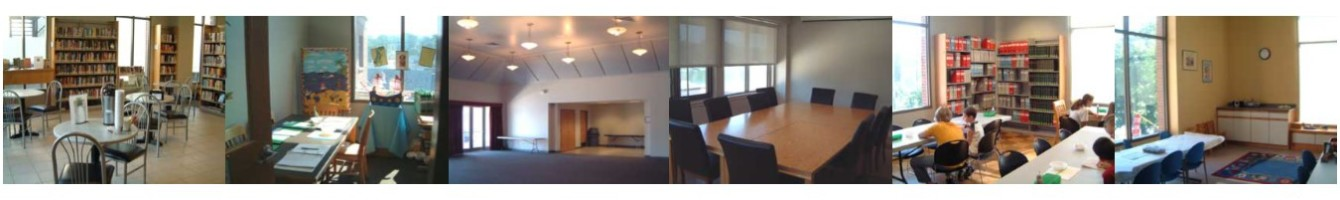 Images of rooms available at the library for public use.